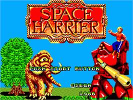 Title screen of Space Harrier on the Sega Game Gear.