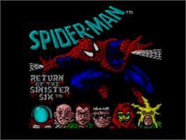 Title screen of Spider-Man: Return of the Sinister Six on the Sega Game Gear.