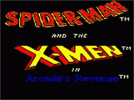 Title screen of Spider-Man and the X-Men: Arcade's Revenge on the Sega Game Gear.