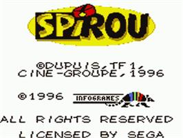 Title screen of Spirou on the Sega Game Gear.