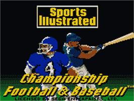 Title screen of Sports Illustrated Championship Football & Baseball on the Sega Game Gear.