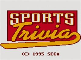 Title screen of Sports Trivia: Championship Edition on the Sega Game Gear.