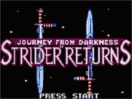 Title screen of Strider 2 on the Sega Game Gear.