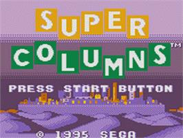 Title screen of Super Columns on the Sega Game Gear.