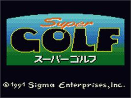 Title screen of Super Golf on the Sega Game Gear.