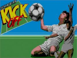 Title screen of Super Kick Off on the Sega Game Gear.