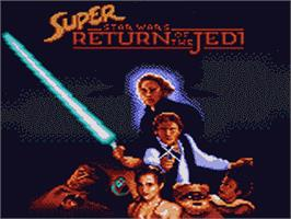 Title screen of Super Star Wars: Return of the Jedi on the Sega Game Gear.
