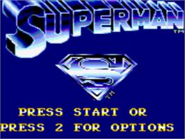 Title screen of Superman: The Man of Steel on the Sega Game Gear.