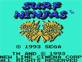 Title screen of Surf Ninjas on the Sega Game Gear.