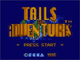 Title screen of Tails' Adventure on the Sega Game Gear.