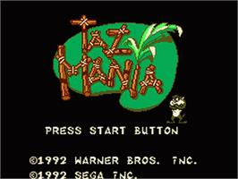 Title screen of Taz-Mania: The Search for the Lost Seabirds on the Sega Game Gear.