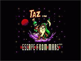 Title screen of Taz in Escape from Mars on the Sega Game Gear.