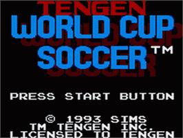 Title screen of Tengen World Cup Soccer on the Sega Game Gear.