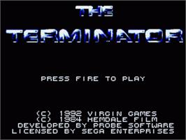 Title screen of Terminator on the Sega Game Gear.