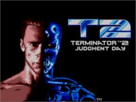Title screen of Terminator 2 - Judgment Day on the Sega Game Gear.