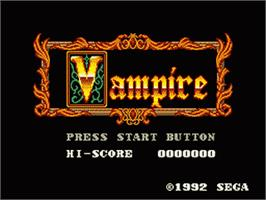 Title screen of Vampire: Master of Darkness on the Sega Game Gear.