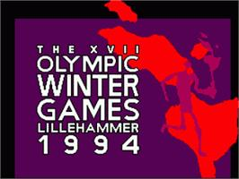 Title screen of Winter Olympics: Lillehammer '94 on the Sega Game Gear.