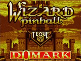 Title screen of Wizard Pinball on the Sega Game Gear.