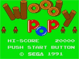 Title screen of Woody Pop on the Sega Game Gear.