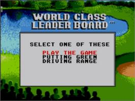 Title screen of World Class Leaderboard on the Sega Game Gear.