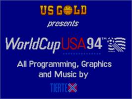 Title screen of World Cup USA '94 on the Sega Game Gear.