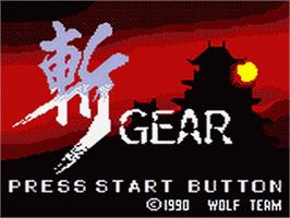 Title screen of Zan Gear on the Sega Game Gear.