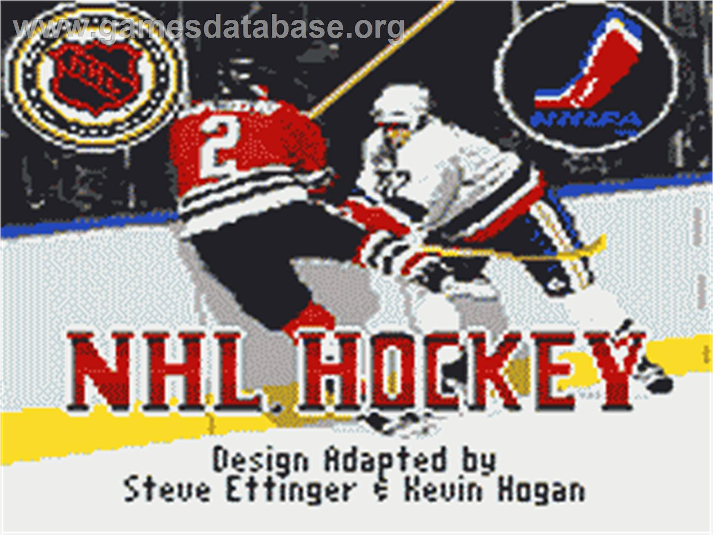 Title screen of NHL Hockey on the Sega Game Gear.