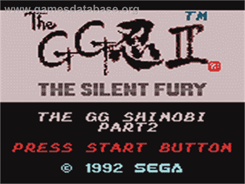 Shinobi Ii The Silent Fury Sega Game Gear Artwork Title Screen