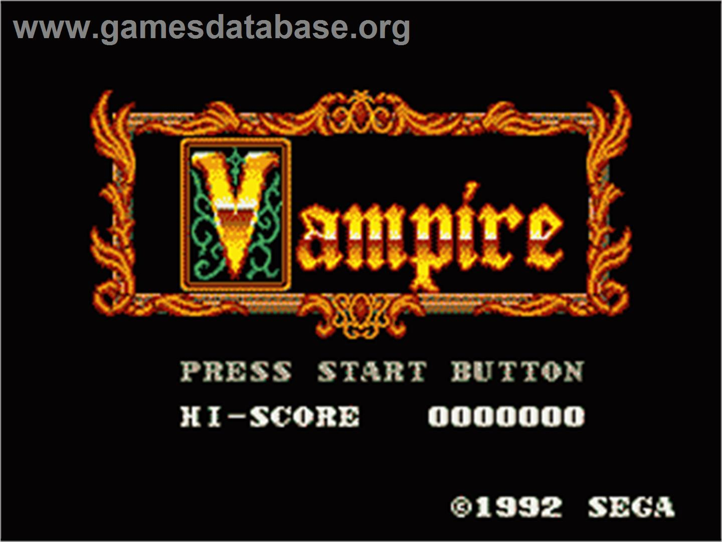 Vampire: Master of Darkness - Sega Game Gear - Artwork - Title Screen