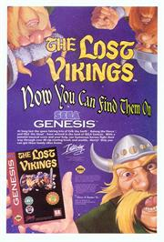 Advert for Lost Vikings, The on the Sega Genesis.