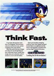 Advert for Sonic The Hedgehog on the Sega Genesis.