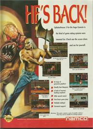 Advert for Splatter House 3 on the Sega Genesis.