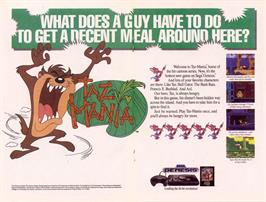 Advert for Taz-Mania on the Sega Master System.