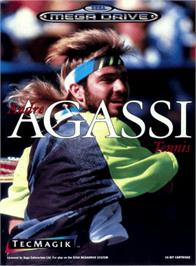 Box cover for Andre Agassi Tennis on the Sega Genesis.