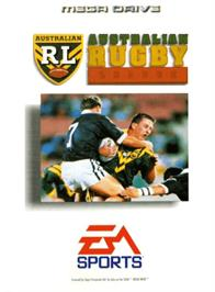 Box cover for Australian Rugby League on the Sega Genesis.