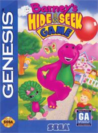 Box cover for Barney's Hide and Seek Game on the Sega Genesis.