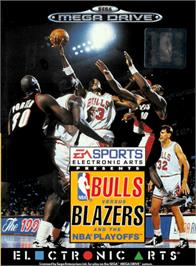 Box cover for Bulls vs. Blazers and the NBA Playoffs on the Sega Genesis.