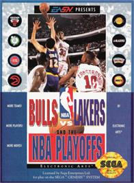 Box cover for Bulls vs. Lakers and the NBA Playoffs on the Sega Genesis.
