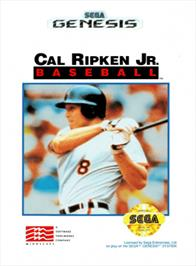 Box cover for Cal Ripken Jr. Baseball on the Sega Genesis.