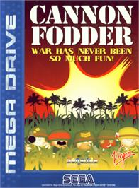 Box cover for Cannon Fodder on the Sega Genesis.