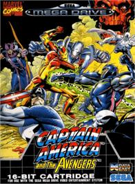 Box cover for Captain America and The Avengers on the Sega Genesis.