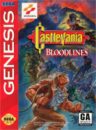 Box cover for Castlevania Bloodlines on the Sega Genesis.