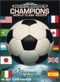 Box cover for Champions World Class Soccer on the Sega Genesis.