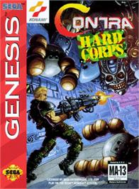 Box cover for Contra Hard Corps on the Sega Genesis.