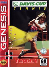 Box cover for Davis Cup World Tour Tennis on the Sega Genesis.