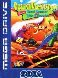 Box cover for Desert Demolition Starring Road Runner and  Wile E. Coyote on the Sega Genesis.
