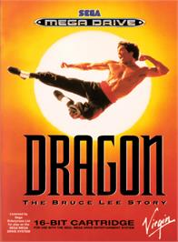 Box cover for Dragon: The Bruce Lee Story on the Sega Genesis.