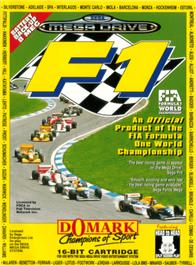 Box cover for F1 on the Sega Genesis.