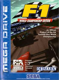Box cover for F1 World Championship Edition on the Sega Genesis.