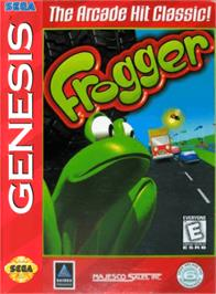 Box cover for Frogger on the Sega Genesis.